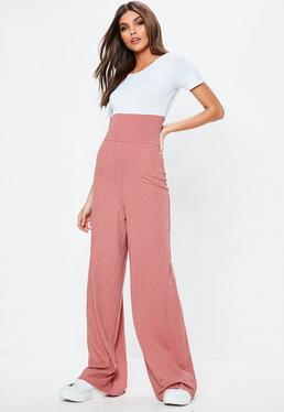 Pink Contrast Wide Leg Jumpsuit