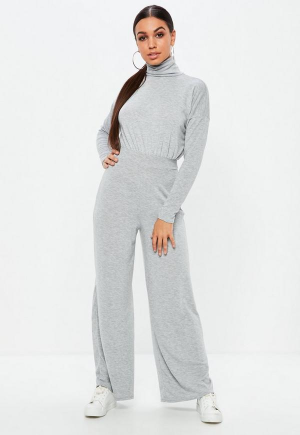 Grey High Neck Wide Leg Slouch Jumpsuit by Missguided