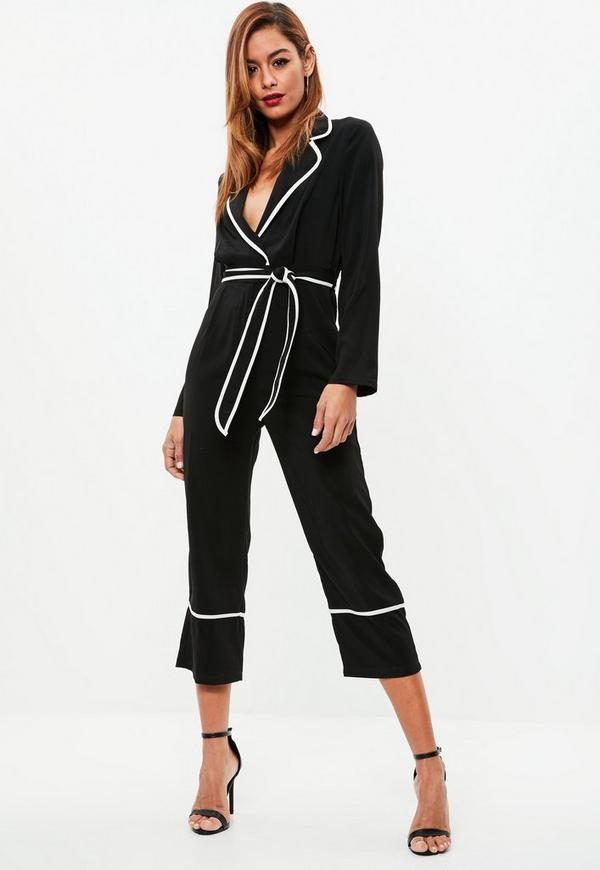 schwarzer pyjama style jumpsuit missguided. Black Bedroom Furniture Sets. Home Design Ideas