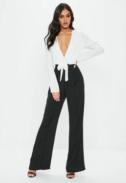 Black Mono Tie Front Jumpsuit