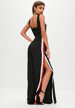 Black Side Stripe Popper Jumpsuit