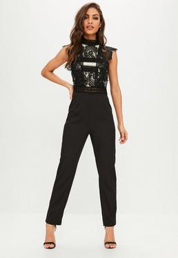 Black Eyelash Lace High Neck Jumpsuit