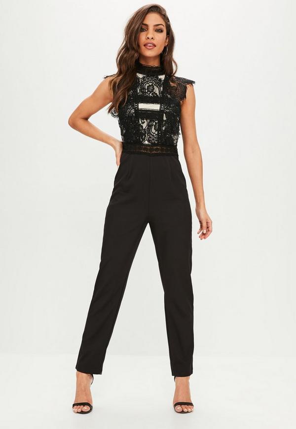 black eyelash lace high neck jumpsuit missguided. Black Bedroom Furniture Sets. Home Design Ideas