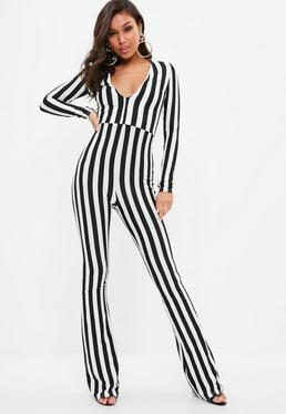 Black Stripe Longsleeve Flare Leg Jumpsuit
