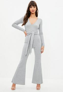 Grey V Front Ribbed Tie Waist Jumpsuit