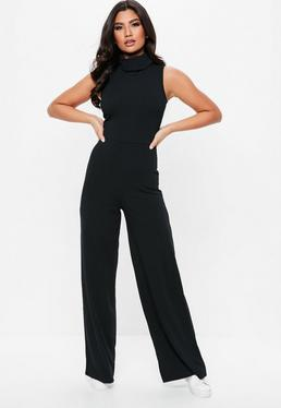 Black Roll Neck Sleeveless Ribbed Jumpsuit
