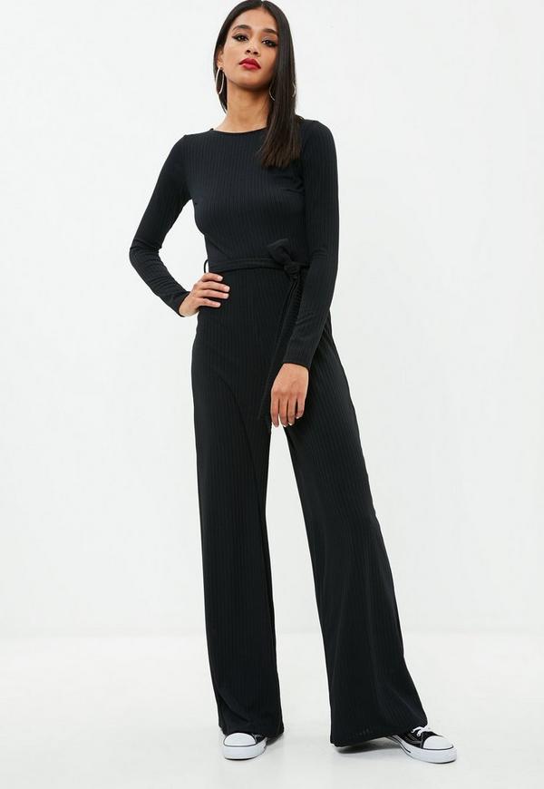 black ribbed wide leg jumpsuit missguided. Black Bedroom Furniture Sets. Home Design Ideas