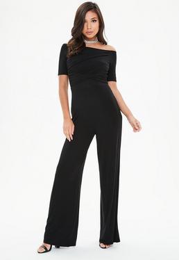 Black Wrap Front Bardot Wide Leg Jumpsuit