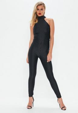 Navy High Neck Pinstripe Jumpsuit