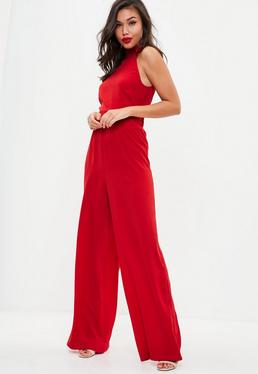 Red High Neck Wide Leg Jumpsuit