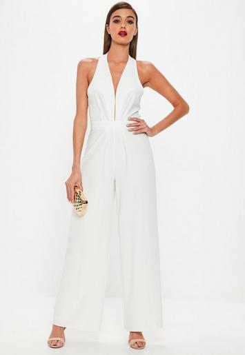 White pleated halter neck wide leg jumpsuit missguided for Hochzeit jumpsuit