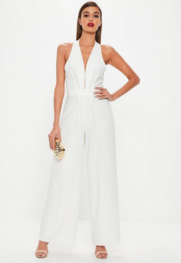 White pleated halter neck wide leg jumpsuit missguided - Jumpsuit hochzeit ...