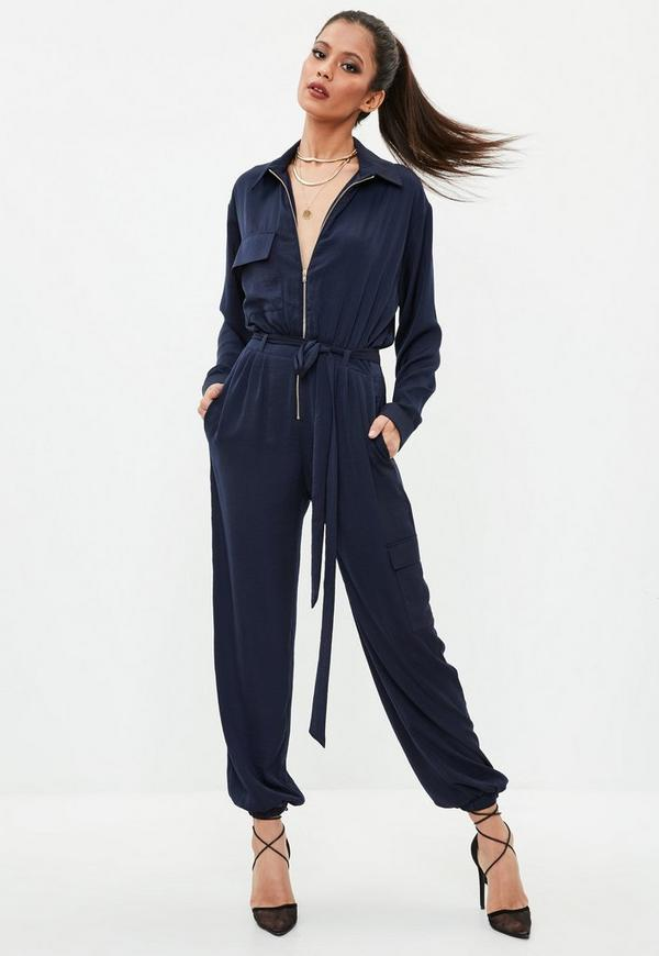 Navy Utility Satin Jumpsuit | Missguided