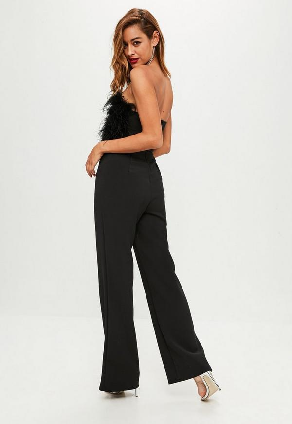 schwarzer bandeau jumpsuit mit federn missguided. Black Bedroom Furniture Sets. Home Design Ideas