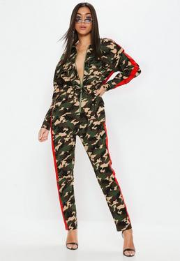 Khaki Camo Red Stripe Jumpsuit