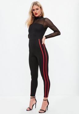 Black Fishnet Sports Stripe Unitard