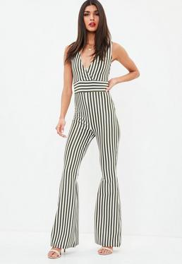 Khaki Sleeveless Stripe Kick Flare Jumpsuit