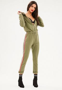 Khaki Tracksuit Hooded Sports Stripe Jumpsuit