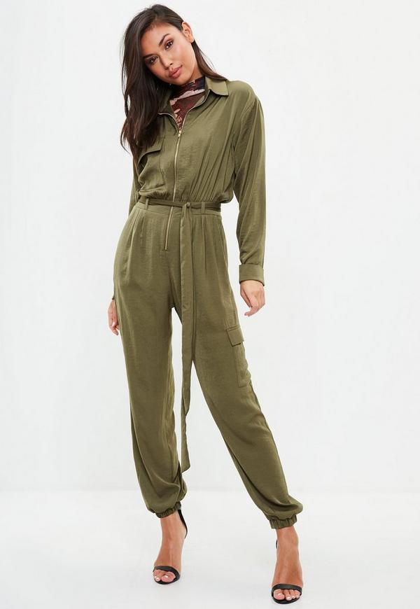 Khaki Satin Utility Jumpsuit Missguided
