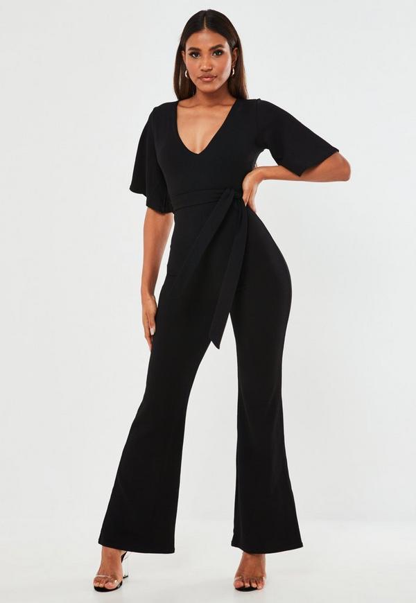 5d39e1eaa4e1 Black Plunge Kimono Sleeve Jumpsuit