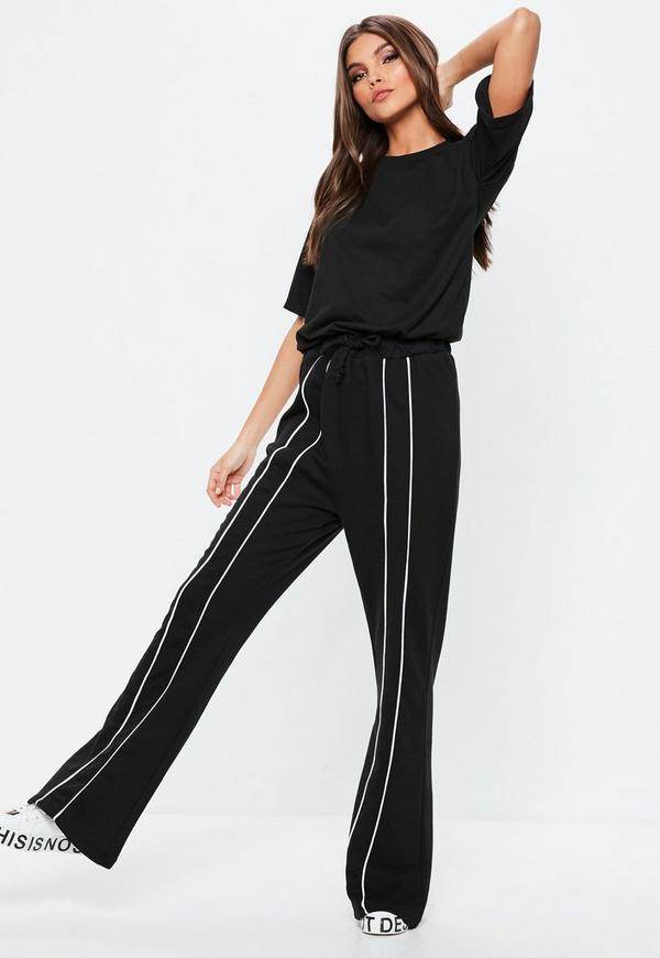 Black Drawstring Stripe Tracksuit Jumpsuit by Missguided