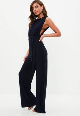Navy Tab Side Wide Leg Jumpsuit