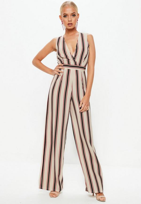 Cream Stripe Wrap Front Sleeveless Jumpsuit by Missguided