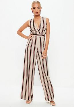Cream stripe Wrap Front Sleeveless Jumpsuit