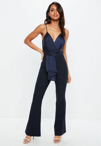 c42af06732b Navy Wrap Front Colour Block Jumpsuit