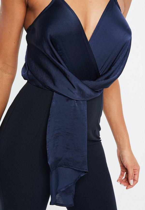 f0289054254 ... Navy Wrap Front Colour Block Jumpsuit. Previous Next