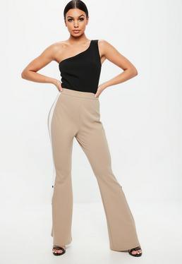 Nude Color Block One Shoulder Popper Jumpsuit