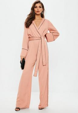 Pink Contrast Piping Pyjama Wrap Jumpsuit