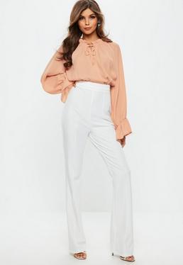Peach Contrast Ruffle Blouse Jumpsuit