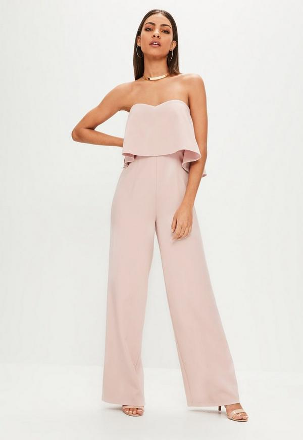 Pink Bardot Double Layer Wide Leg Jumpsuit Missguided