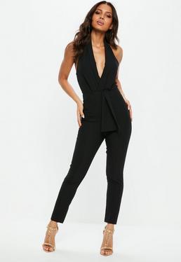 Black Halter Lapel Drape Front Jumpsuit