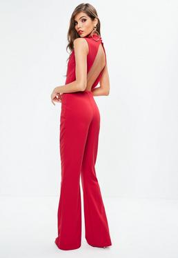 Red Split Front High Neck Jumpsuit