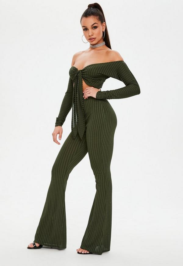 Khaki Tie Front Flare Leg Jumpsuit by Missguided