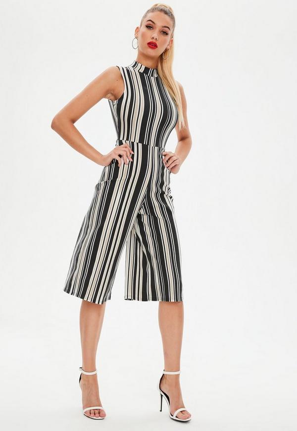 07d1d9408b03 Black Stripe High Neck Jumpsuit