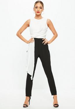 White Monochrome Contrast Drape Jumpsuit