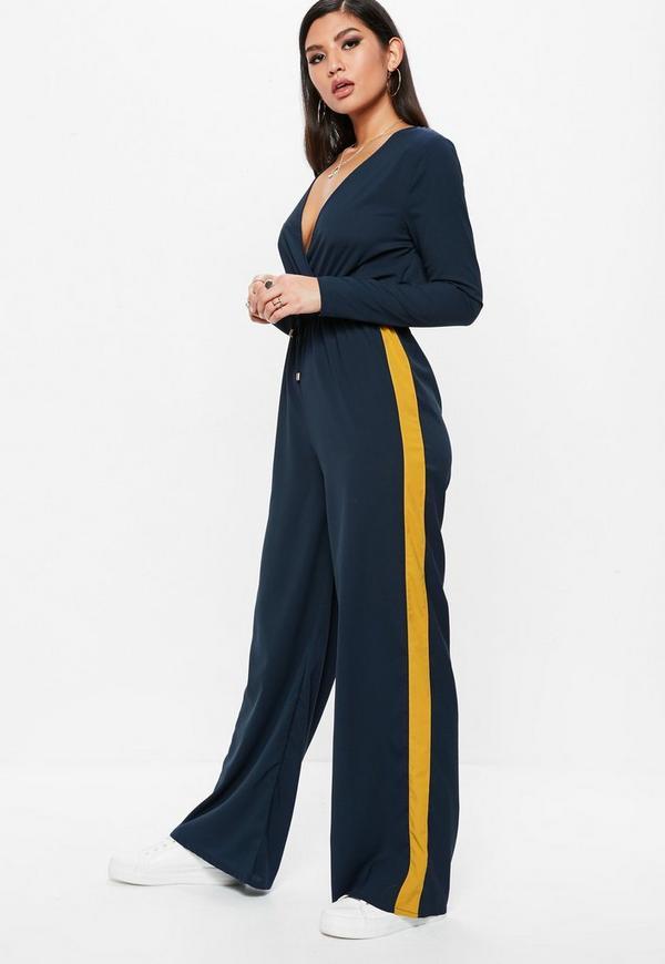 Navy Wrap Side Stripe Wide Leg Jumpsuit by Missguided