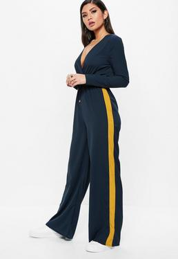 Navy Wrap Side Stripe Wide Leg Jumpsuit
