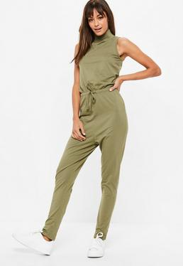 Khaki Sleeveless High Neck Jumpsuit
