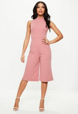 Pink Round Neck Culotte Jumpsuit