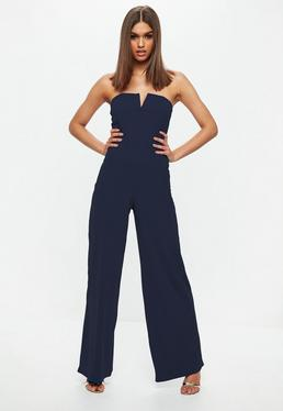 Blue V Bar Bandeau Wide Leg Jumpsuit