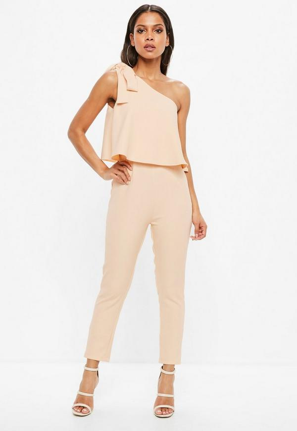 Nude One Shoulder Jumpsuit by Missguided