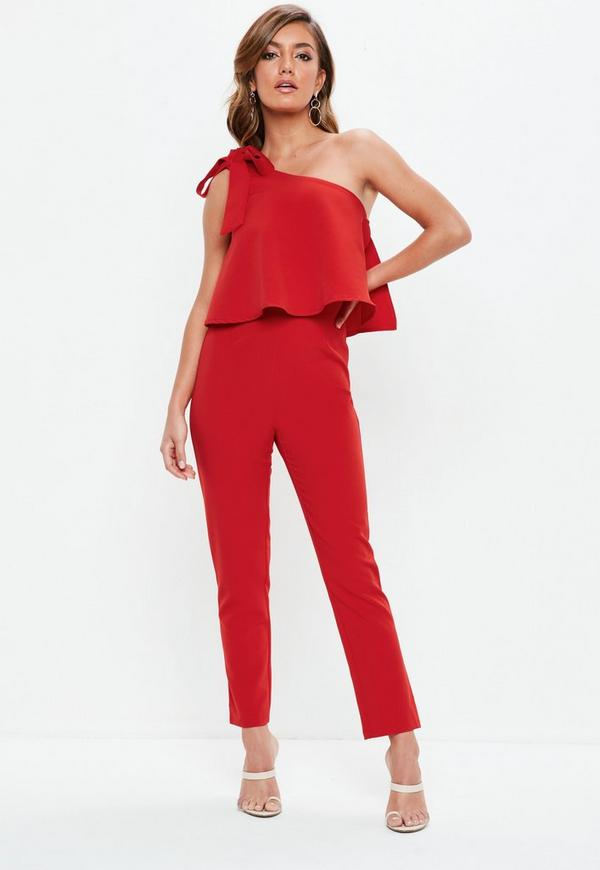 818886d64b2 MISSGUIDED. RED ONE SHOULDER BOW JUMPSUIT