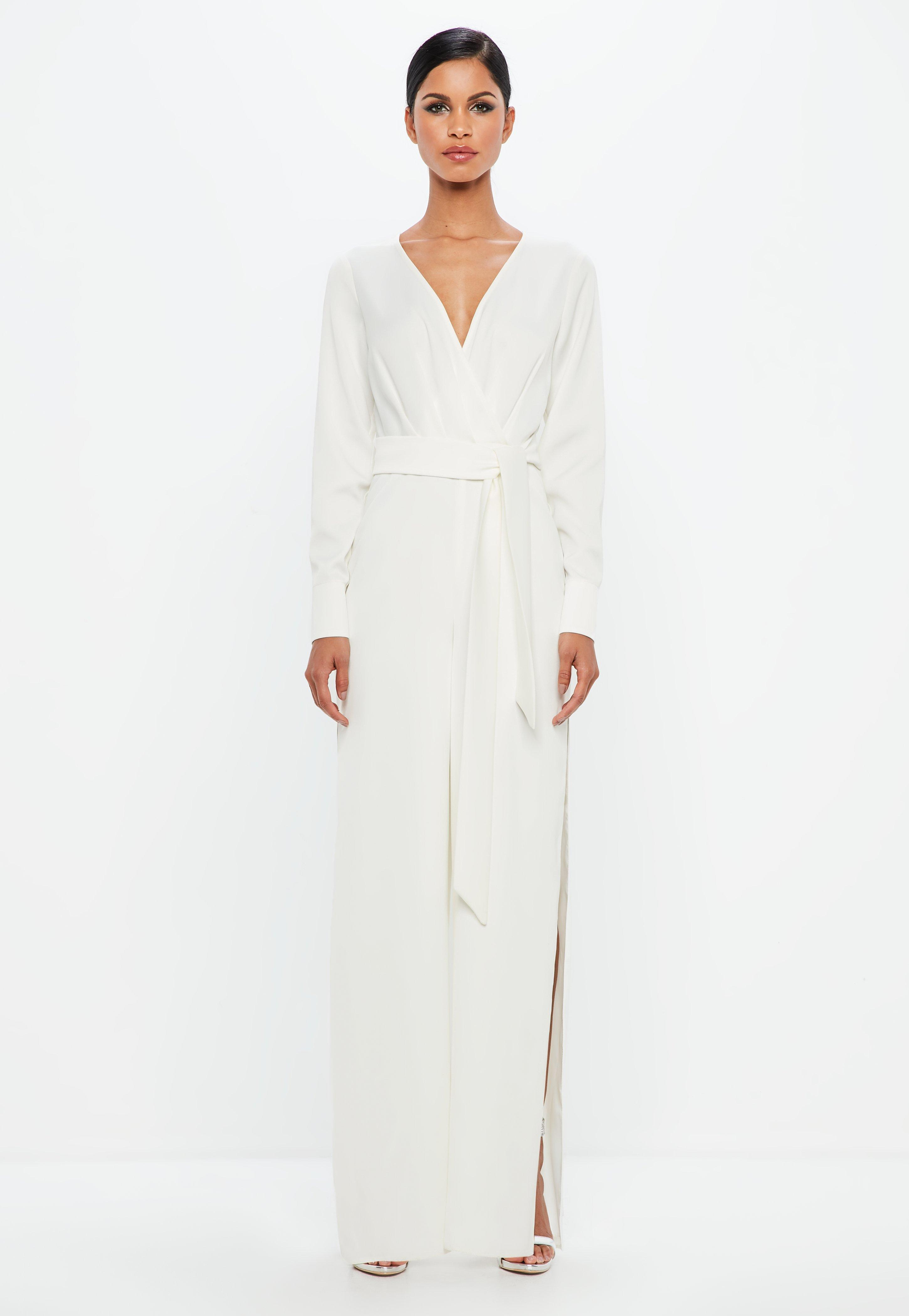 Peace + Love White Belted Wrap Jumpsuit