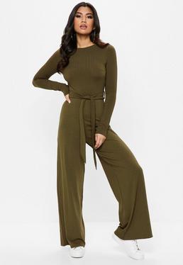 Khaki Long Sleeve Jumpsuit