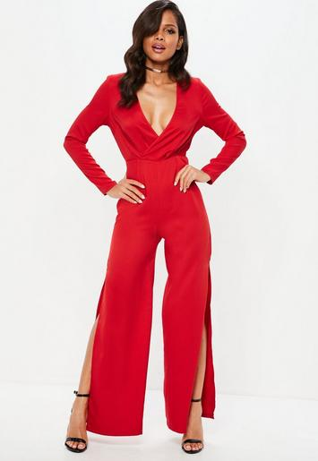 Red Long Sleeve Wrap Split Leg Jumpsuit Missguided
