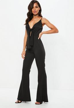 Black Tie Front Flared Leg Jumpsuit